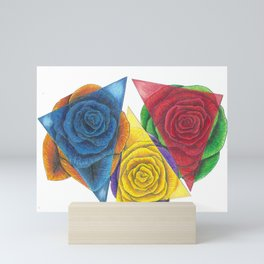 Complimentary Color Rose Trio With Geometric Triangles Mini Art Print