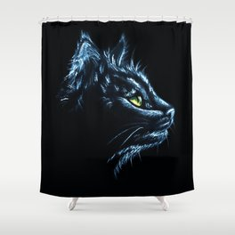 Black Cat Portrait White Charcoal Art Shower Curtain