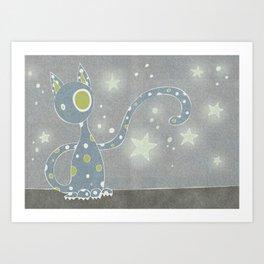 Gris the Starry Cat Art Print