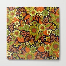 Green, Orange, Yellow & Dark Purple Floral Pattern Metal Print