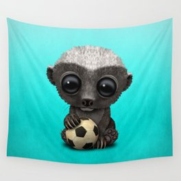 Cute Baby Honey Badger With Football Soccer Ball Wall Tapestry