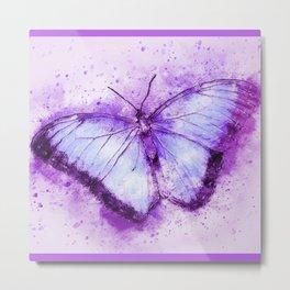 Purple watercolor butterfly Metal Print