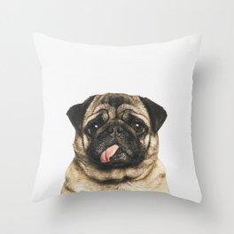 Cheeky Pug Throw Pillow