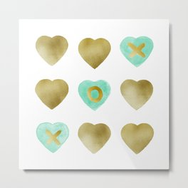 Tic Tac Toe hearts - Gold and Mint palette Metal Print