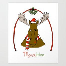 Mistletoe Moose Art Print