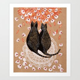 Fat cats on a doily Art Print