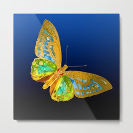 Luxurious Gold, Green & Blue Painted Butterfly  Metal Print
