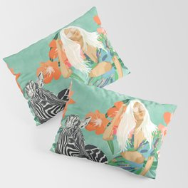 Never Change Your Stripes Illustration, Modern Bohemian Zebra Painting Wildlife Woman Pillow Sham