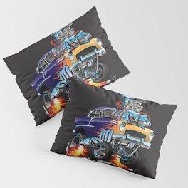 Classic Fifties Hot Rod Muscle Car Cartoon Pillow Sham