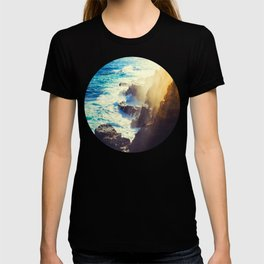 Mid Century Modern Round Circle Photo Graphic Design Blue Waters Rocky Shores With Sunlight T-shirt