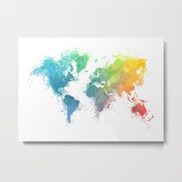 World Map splash 1 Metal Print