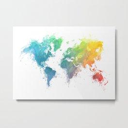 World Map splash 1 Metal Print