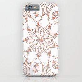 Rose Gold Mandala Flower on White iPhone Case