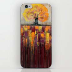 Tree in Autumn Landscape - Abstract Landscape Painting iPhone Skin
