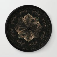 ornate Wall Clocks featuring Ornate Blossom by Charma Rose