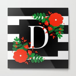 D - Monogram Black and White with Red Flowers Metal Print