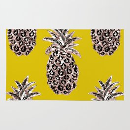 Gold Pineapples on mustard Rug