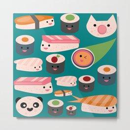 Kawaii sushi teal Metal Print