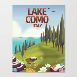 Lake Como Italy travel poster Canvas Print