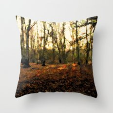 Autumn In The Forest - Painting Style Throw Pillow
