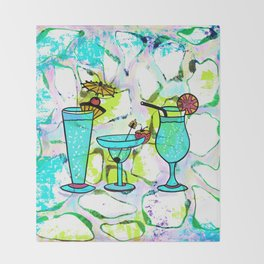 Summer Pool Party Cocktails , Watercolor Painting in Aqua Tequila Sunrise Colors Throw Blanket