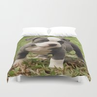pit bull Duvet Covers featuring Pit Bull Puppy by MandiMccl