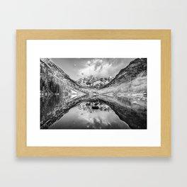 Colorado Maroon Bells Mountainous Landscape - Black and White Framed Art Print