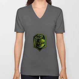 Green Grenade Gift Idea Design Motif Unisex V-Neck