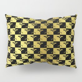 Black and Gold Checkerboard Scales of Justice Legal Pattern Pillow Sham