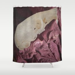 Retro Rodent Skull and Rose Shower Curtain