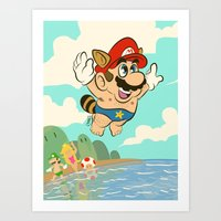 super mario Art Prints featuring Super Mario! by Ismael Álvarez