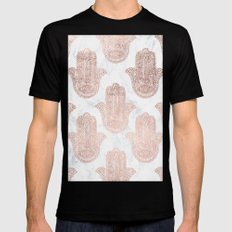 Modern rose gold floral lace hamsa hands white marble illustration pattern Mens Fitted Tee MEDIUM Black