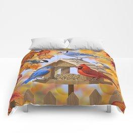 Autumn Bird Feeder Gathering Comforters