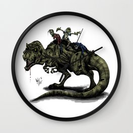 Zombies Riding a Trex Wall Clock