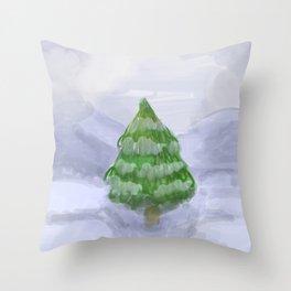Snowy Fir Throw Pillow