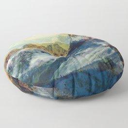 Mountain landscape digital art Floor Pillow