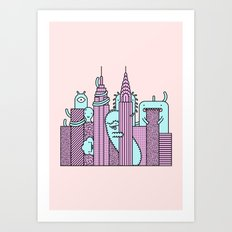 Monster Invasion Colored Art Print