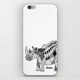 Illustrated Rhino – Union – Black iPhone Skin