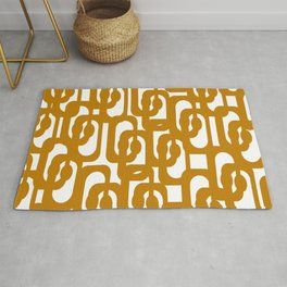 Midcentury Modern Loop Pattern in Dark Honey Mustard Gold and White Rug