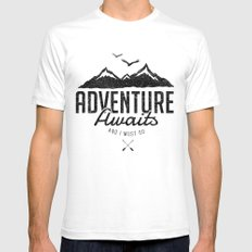 ADVENTURE AWAITS LARGE White Mens Fitted Tee