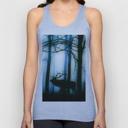 Deer in the blue forest Unisex Tank Top