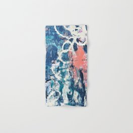 027.3: a vibrant abstract design in blue teal pink and cream by Alyssa Hamilton Art Hand & Bath Towel