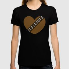 Chewbacca Character Heart SMALL Black Womens Fitted Tee