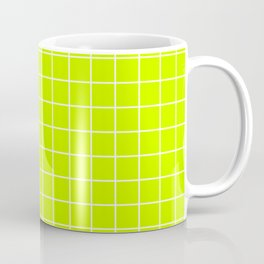 Electric lime - green color - White Lines Grid Pattern Coffee Mug