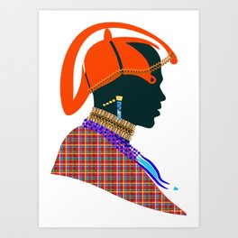 massai warrior kenya african graphic art design Art Print