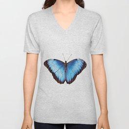 Morpho one big blue Butterfly Unisex V-Neck