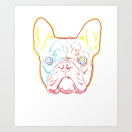 Colourful French Bulldog Dog Strokes Art Print