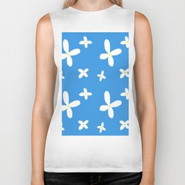 Classic Blue and White Flowers Biker Tank