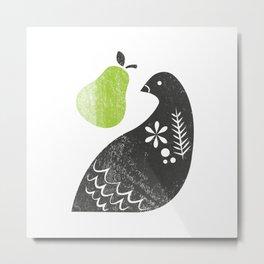 Partridge & Pear Metal Print