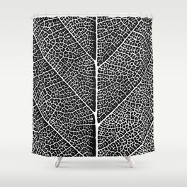 Modern abstract black white tree leave texture Shower Curtain